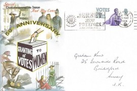 1968 British Anniversaries, Connoisseur FDC, 9d Votes for Women stamp only, Jersey New Potatoes are Available slogan