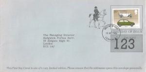 1982 British Motor Cars, Illustrated Raffle Ticket FDC, 15½p Austin stamp only, London E1 FDI