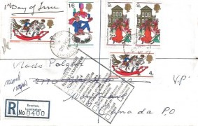 1968 Christmas, Registered Plain FDC to Canada, Everton Lymington Hants.cds, Return to sender Cachet
