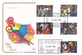 1992 Christmas, Cotswold FDC, Christmas Blessings to all Mankind The Salvation Army Westminster London SW1 H/S