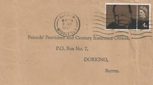 1965 Sir Winston Churchill, 5d Stamp only, Friends' Provident & Century Insurance Offices FDC, Harrow Middlesex Cancel