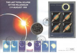 1999 Total Solar Eclipse M/S, Westminster Official £5 Alderney Coin cover, Total Solar Eclipse Falmouth Cornwall H/S Double dated Alderney Guernsey Solar Eclipse Issue