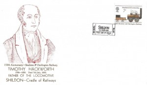 1975 Stockton & Darlington Railway,Timothy Hackworth Illustrated FDC, 7p Stephenson's Locomotion stamp only First Day of Issue Shildon H/S