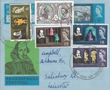 1964 Shakespeare Festival, Shakespeare Festival Green 6d Air Letter, Complete Ordinary Set, Leicester FDI