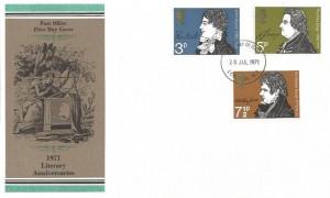 1971 Literary Anniversaries, Post Office Colour Error FDC, London NW1 FDI