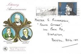 1971 Literary Anniversaries, Wessex FDC, 3p John Keats Stamp only, Visit Shakespeare's Town Stratford on Avon Slogan