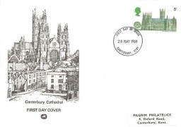 1969 British Cathedrals, Pilgrim FDC, 5d Canterbury Cathedral Stamp only, Canterbury Kent FDI