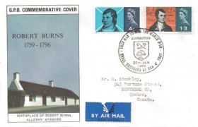 1966 Robert Burns, GPO FDC, That Man to Man the Warld O'er Shall Brothers be for A' That Edinburgh H/S