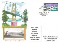 1968 British Bridges, Philart Tarr Steps Posted at Dulverton Somerset FDC, 4d Tarr Steps Stamp only, Dulverton Somerset cds
