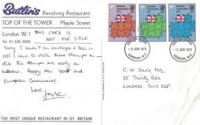 1973 Europe Communities, Butlin's Revolving Restaurant Post Office Tower Postcard, London WC FDI