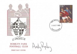 1980 Sporting Anniversaries, Rosslyn Park Rugby Football Club FDC, 13½p Rugby stamp only, Twickenham FDI, Signed by Andy Ripley