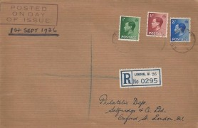 1936 King Edward VIII Definitive Issue ½d,1½d, 2½d, Registered Selfridges & Co Ltd. FDC, 400 Oxford Street W cds