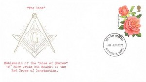 1976 Roses, Masonic FDC, 8½p Elizabeth of Glamis Rose Stamp only, Portsmouth Hants.FDI