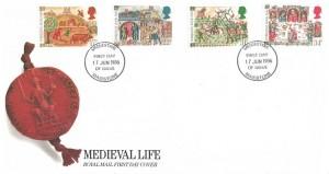 1986 Medieval Life, Royal Mail FDC, Maidstone (Meddestane) FDI