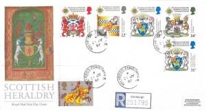 1987 Scottish Heraldry, Registered Royal Mail FDC, Holyrood Edinburgh 8 cds