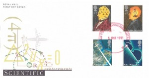 1991 Scientific Achievements, Royal Mail FDC, Royal Air Force Fylingdales Postal Room (Red) cds