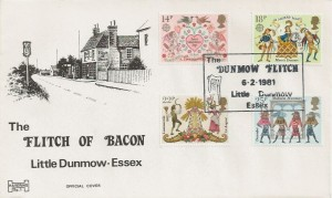 1981 Folklore, Havering Sp1 Official FDC, The Dunmow Flitch Little Dunmow Essex H/S
