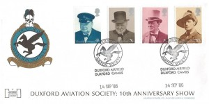 1986 RAF Duxford Aviation Society 10th Anniversary Show Havering Commemorative Cover, Sir Winston Churchill stamps, Duxford Aviation Society Duxford Airfield Duxford Cambs. H/S