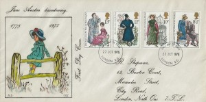 1975 Jane Austen, R Shipman Hand Illustrated FDC, London EC FDI