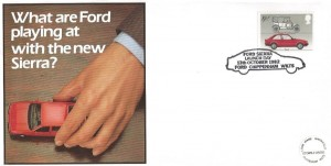 1982 British Motor Cars, Cotswold Official Ford Sierra FDC, 19½p Ford stamp only, Ford Sierra Launch Day Ford Chippenham Wilts. H/S