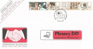 1982 Information Technology, Royal Mail FDC, overprinted with Plessey ibis Integrated Business Information System, First Day of Issue Philatelic Bureau Edinburgh H/S
