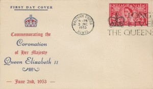 1953 Coronation, Illustrated FDC, 2½d Stamp only, Long Live the Queen Waltham Cross Herts. Slogan