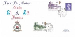 1995 £3 Carrickfergus Castle High Value Definitive + Previous 1992 £1 Carrickfergus Castle Definitive, RAF Bruggen FDC, Field Post Office 986 cds