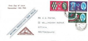 1962 National Productivity Year, North Herts. Stamp Club FDC, Hitchin Herts. cds