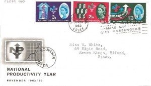 1962 Productivity Year, BPA/PTS FDC, Postal Order Gift Cards Make Gay Gift Messengers Ilford Barking Essex Slogan