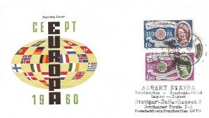 1960 Europa, Illustrated FDC, London FS (Foreign Section) cds