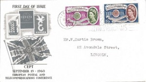 1960 Europa, Illustrated FDC. Express Good Wishes by Greetings Telegrams Lincoln Slogan