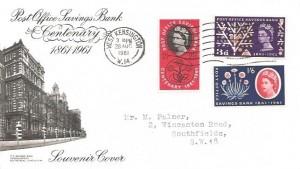 1961 Post Office Savings Bank Centenary, BPA/PTS FDC, West Kensington W14 Wavyline Cancel