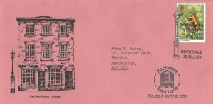 1981 Butterflies, Toad Lane Museum Official FDC,14p stamp only, Reintroduction of Rochdale's Unique Pillar Box H/S