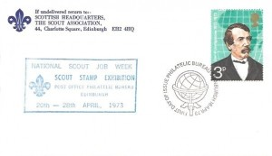 1973 British Explorers, Scout Stamp Exhibition Post Office Philatelic Bureau FDC, 3p David Livingstone stamp only, First Day of Issue Philatelic Bureau Edinburgh H/S
