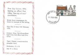 1970 Rural Architecture, Illustrated Display FDC, 5d Fife Harling stamp only, Romford FDI