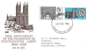 1966 Westminster Abbey, Philart FDC, London SW FDI