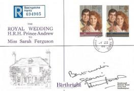1986 Royal Wedding, Registered Birthright Wedding Day Cover, Dummer Basingstoke Hants. cds, Signed by Gloria Hunniford