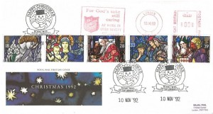 1992 Christmas, Royal Mail FDC, Happy Christmas Royal Mail City of London EC1 H/S, For God's Sake still Caring at Work in over Ninety Countries The Salvation Army Meter Mark