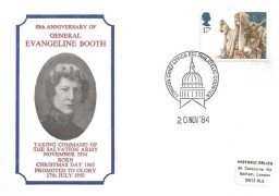 1984 Christmas, Historic Relics 50th Anniversary of General Evangeline Booth FDC, 17p stamp only, London Chief Office EC1 Philatelic Counter H/S