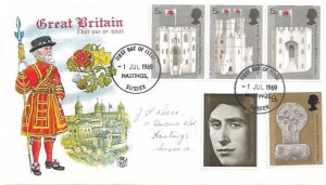 1969 Prince of Wales Investiture, Stuart Coloured FDC, Hastings Sussex FDI