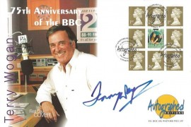 1997 BBC Prestige Booklet Pane, Westminster Autographed Series Official FDC,75th Anniversary of the BBC Shepherd's Bush London W12 H/S, Signed by Terry Wogan
