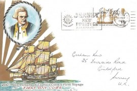 1968 British Anniversaries, Connoisseur Captain Cook FDC, 1/9d Captain Cook stamp only, Jersey New Potatoes Are Available Jersey Slogan