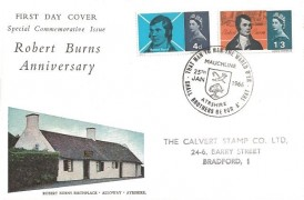 1966 Robert Burns, Connoisseur FDC, That Man to Man the Warld O'er Shall Brothers be for A' That, Mauchline Ayrshire H/S