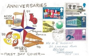 1969 Notable Anniversaries, M J Huggins Hand Painted FDC, Melton Mowbray Leicestershire cds