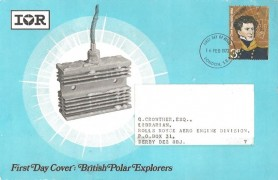 1972 Polar Explorers, IOR International Rectifier Card FDC, 3p James Clark Ross stamp only London SE1 FDI