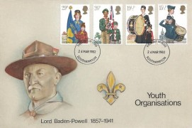 1982 Youth Organisations, S J Snoad Hand Painted FDC, Southampton FDI