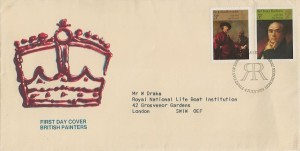 1973 British Paintings, Wiggins Teape Ltd FDC, 3p & 5p stamps only, First Day of Issue Philatelic Bureau Edinburgh H/S