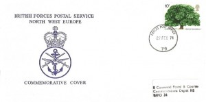 1974 Horse Chestnut Tree, British Forces Postal Service North West Europe FDC, Forces Post Office 79 cds