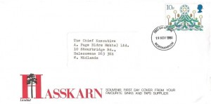 1980 Christmas, Hasskarn Sinks & Taps Supplier FDC, 10p stamp only, Northampton FDI