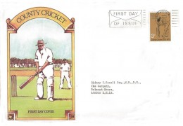 1973 County Cricket Centenary, Large Illustrated FDC, 3p cricket stamp only, First Day of Issue Paddington Slogan